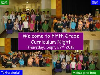 Welcome to Fifth Grade Curriculum Night Thursday, Sept. 27 th  2012