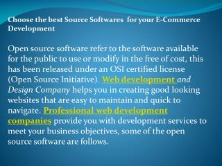Open Source Softwares for your E-Commerce Development