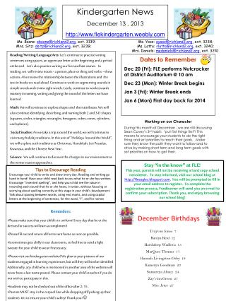Kindergarten News December 13 ,  2013 flekindergarten.weebly