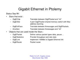 Gigabit Ethernet in Ptolemy
