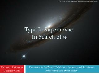 Type Ia Supernovae:  In Search of  w