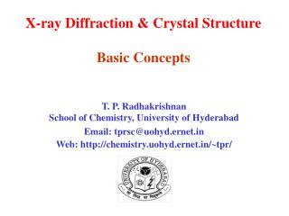 X-ray Diffraction & Crystal Structure Basic Concepts
