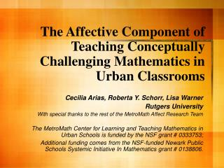 The Affective Component of Teaching Conceptually Challenging Mathematics in Urban Classrooms