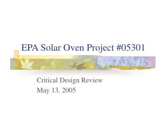 EPA Solar Oven Project #05301