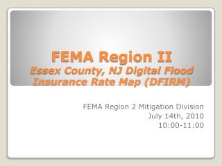 FEMA Region II Essex County, NJ Digital Flood Insurance Rate Map (DFIRM)