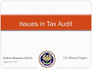 Issues in Tax Audit