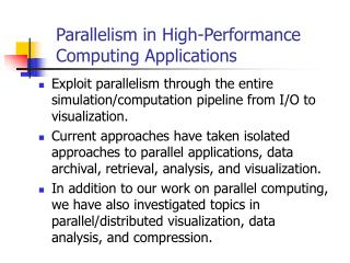 Parallelism in High-Performance Computing Applications