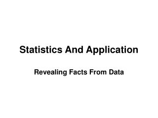 Statistics And Application