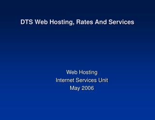 DTS Web Hosting, Rates And Services