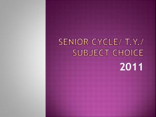 Senior Cycle/ T.Y./ Subject Choice