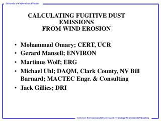 CALCULATING FUGITIVE DUST EMISSIONS  FROM WIND EROSION