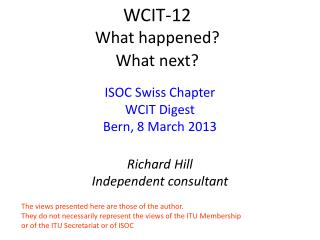 W CIT-12 What happened? What next?