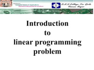 Introduction  to  linear programming  problem