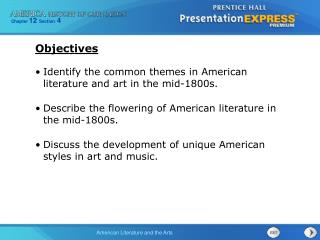 Identify the common themes in American literature and art in the mid-1800s.