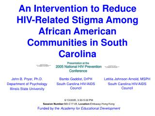 An Intervention to Reduce HIV-Related Stigma Among African American Communities in South Carolina