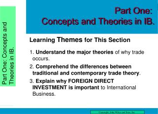 Part One: Concepts and Theories in IB.
