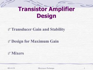 Transistor Amplifier Design
