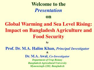 Global Warming and Sea Level Rising: Impact on Bangladesh Agriculture and Food Security