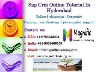 Sap Crm Online Tutorial In Hyderabad