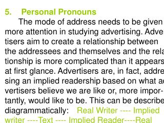 5.Personal Pronouns The mode of address needs to be given