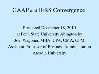 GAAP  and  IFRS Convergence