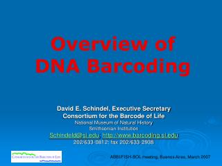 Overview of  DNA Barcoding
