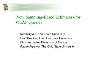 New Sampling-Based Estimators for  OLAP Queries