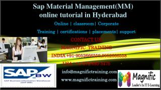 Sap Material Management(MM) online tutorial in Hyderabad
