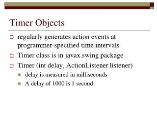 Timer Objects