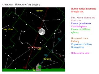 Astronomy : The study of sky ( night )