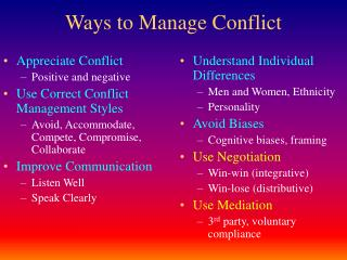 Ways to Manage Conflict