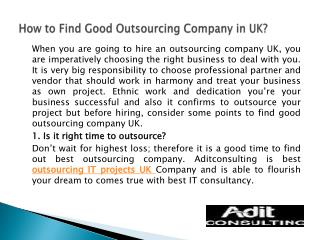 How to Find Good Outsourcing Company in UK?