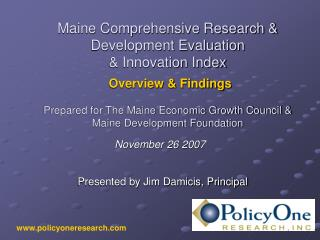 Maine Comprehensive Research & Development Evaluation & Innovation Index Overview & Findings