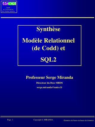Synthèse  Modèle Relationnel (de Codd) et  SQL2