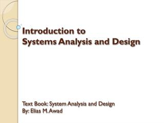 What is Systems Analysis and Design?