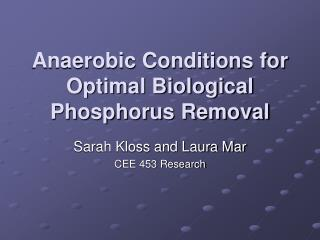 Anaerobic Conditions for Optimal Biological Phosphorus Removal