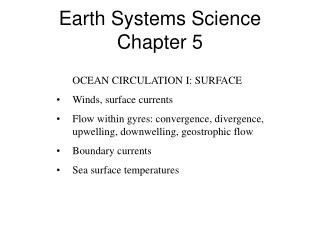 Earth Systems Science Chapter 5