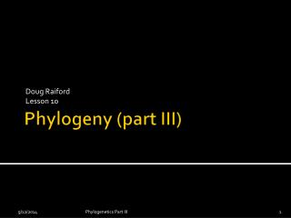 Phylogeny (part III)