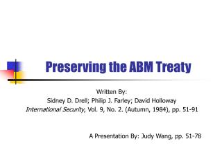 Preserving the ABM Treaty