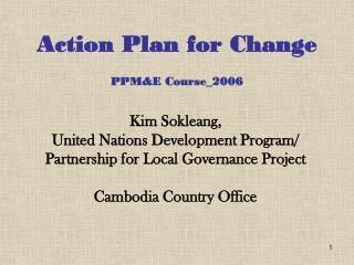 Action Plan for Change PPM&E Course_2006