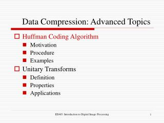 Data Compression: Advanced Topics