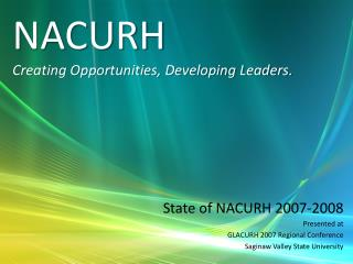 NACURH Creating Opportunities, Developing Leaders.