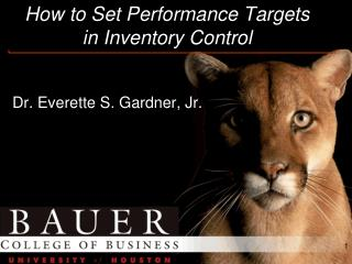 How to Set Performance Targets in Inventory Control