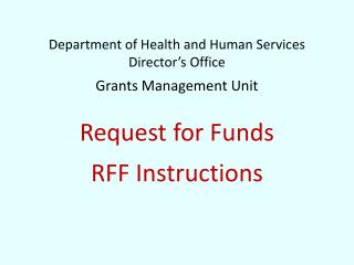 NEW RFF Template for FY15