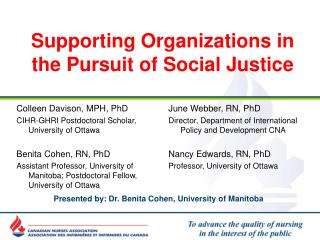 Supporting Organizations in the Pursuit of Social Justice