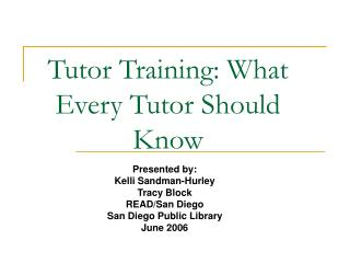 Tutor Training: What Every Tutor Should Know