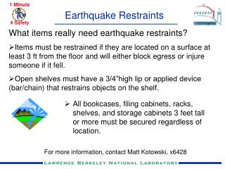 Earthquake Restraints