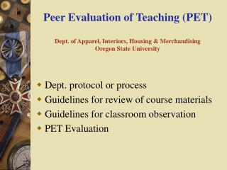 Dept. protocol or process  Guidelines for review of course materials
