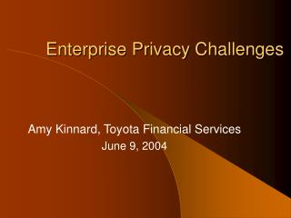 Enterprise Privacy Challenges
