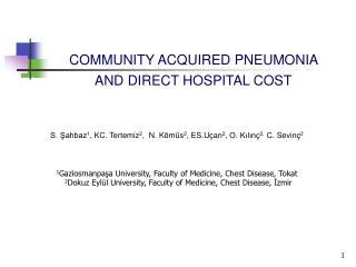 COMMUNITY ACQUIRED PNEUMONIA  AND DIRECT HOSPITAL COST